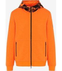 ax armani exchange zip-up pattern hooded sweatshirt