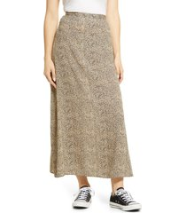 women's billabong flirty daze animal print crepe skirt, size 26 - brown