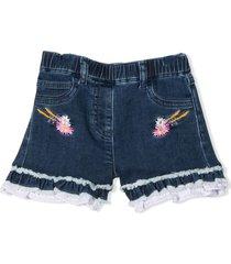 monnalisa dark blue stretch-cotton shorts