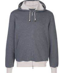brunello cucinelli drawstring zipped hoodie - grey