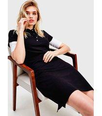 vestido tommy hilfiger mc negro - calce regular
