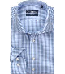 sleeve7 overhemd blauw fijne ruit poplin