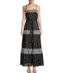 daisy dot mixed media a-line maxi dress