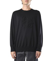 loewe black wool & cashmere anagram sweater