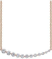 18k rose gold graduated diamond necklace