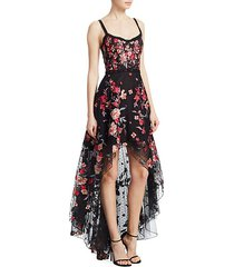 embroidered high-low sleeveless a-line dress