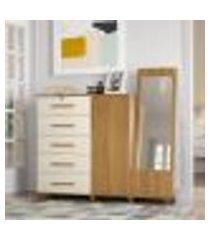 cômoda berlim 5 gavetas, armário e espelho vertical - carvalho