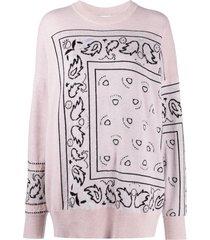 barrie bandana paisley cashmere jumper - pink