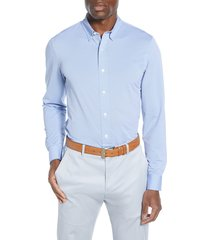 men's rhone stretch nylon button-up shirt, size medium - blue