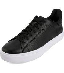 tenis cuero negro blanco perla 888