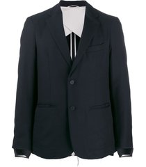 maison flaneur distressed cuff blazer jacket - blue