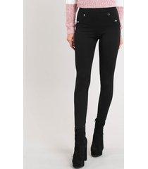 calça legging feminina com botões preta