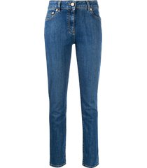 moschino teddy bear embroidered skinny jeans - blue