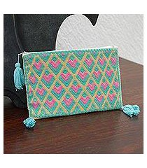 cotton cosmetic bag, 'geometric pastels' (mexico)