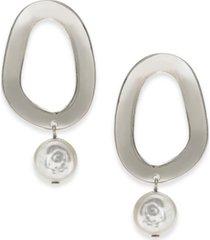 alfani gold-tone link & imitation pearl drop earrings, created for macy's