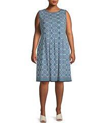 plus pleated knee-length dress