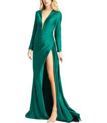 mac duggal side-slit gown