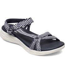 womens on-the-go 600 - classic shoes summer shoes flat sandals blå skechers