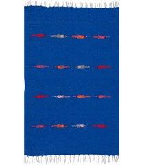 native yoga thunderbird blanket blue cotton