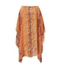 kaftan 101 resort wear vestido crepe estampado animal print laranja