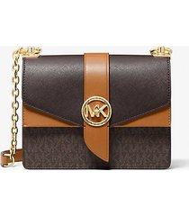 mk borsa a tracolla greenwich piccola in pelle saffiano color-block con logo - marrone - michael kors
