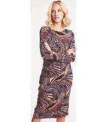 ołówkowa sukienka dzianinowa we wzory