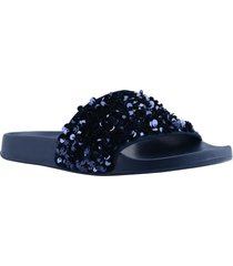 women's guess savan sequin strap pool slide sandal, size 10 m - black