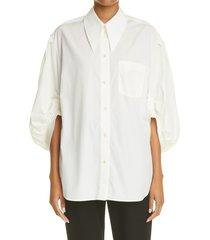 women's simone rocha puff sleeve cotton shirt, size 2 us - ivory