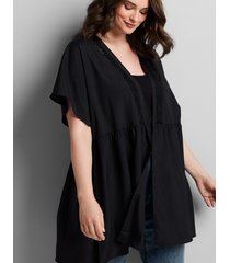 lane bryant women's dolman-sleeve tunic overpiece 26/28 black