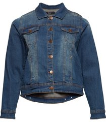 denim jacket plus button up jeansjacka denimjacka blå zizzi