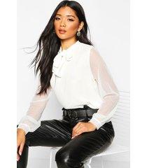 dobby mesh sleeve pussy bow blouse, white