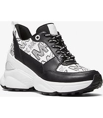 mk sneaker mickey in pelle con logo - nero/bianco (nero) - michael kors