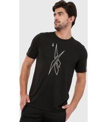 camiseta negro-blanco reebok gráfica myt