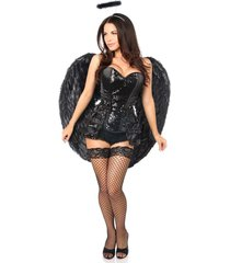 4 pc midnight angel corset halloween costume -corset panty wings halo set