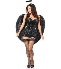 4 pc midnight angel corset halloween costume -corset panty wings halo set