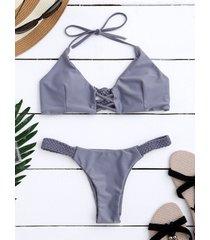 braided criss cross halter push up padded bikini
