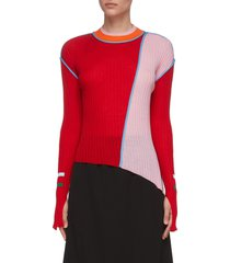 asymmetric colourblock patchwork knit top