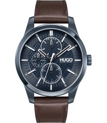 hugo men's #real brown leather strap watch 46mm