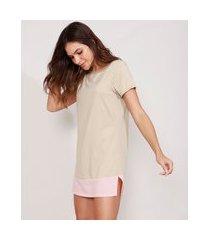 camisola curta com recorte manga curta decote redondo bege