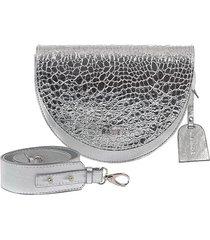 skórzana torebka nerka srebro krokodyl