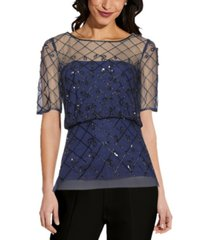adrianna papell blouson beaded top
