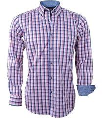 sette fratelli ongetailleerd heren overhemd geblokt roze - blauw