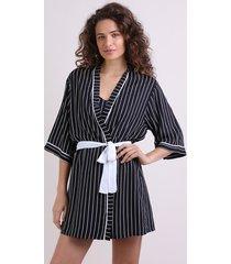 robe feminino listrado manga 3/4 preto