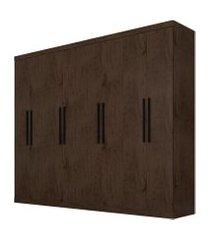 guarda-roupa araplac móveis 8 portas e 4 gavetas imbuia marrom