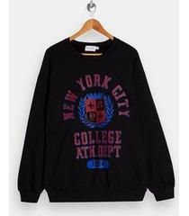 mens nyc college sweatshirt in black