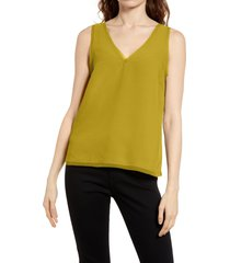 women's halogen raw edge tank, size medium - green