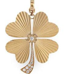 'four leaf clover' diamond 14k yellow gold bracelet charm - large