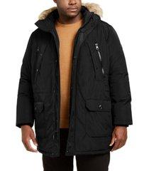 calvin klein men's big & tall long snorkel coat with faux-fur trimmed hood