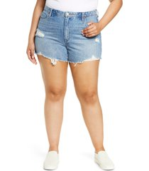 plus size women's blanknyc the barrow high waist cutoff nonstretch denim shorts, size 24w - blue