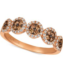 le vian chocolatier diamond halo cluster ring (3/8 ct. t.w.) in 14k rose gold